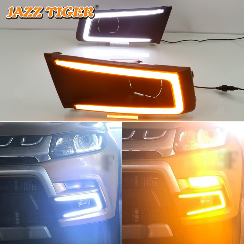 JAZZ TIGER Yellow Turn Signal Function Waterproof 12V Car DRL LED Daytime Running Light For Suzuki Vitara Brezza 2016 2017 2018 for suzuki vitara brezza 2015 2016 2017 yellow turn signal function waterproof car drl lamp 12v led daytime running light sncn