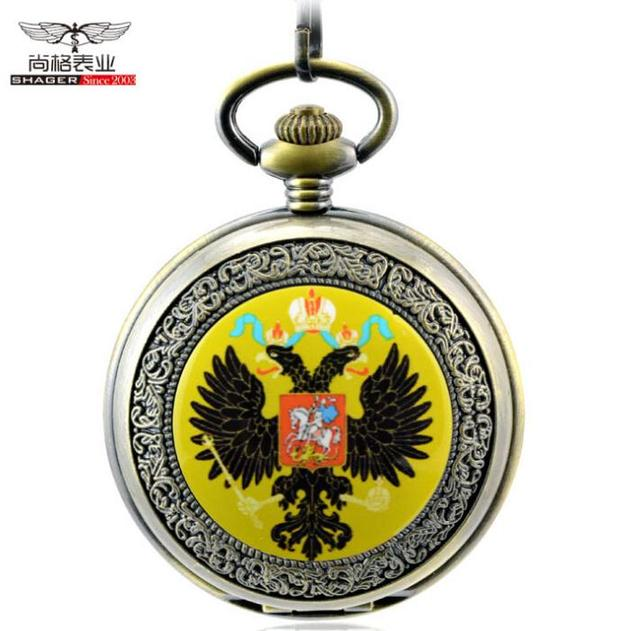 Russia eagle print antique steampunk pocket watch chain mens watches mechanical