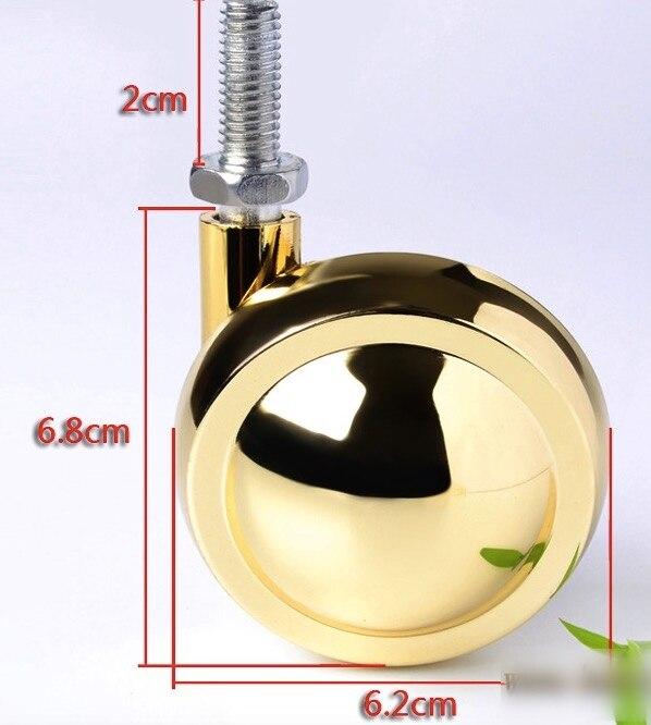 2PCS/LOT   Alloy Carpet Ball Casters Swivel Screw M8 Wheel screw rod 2 inches plastic casters 50mm thread swivel wheels black