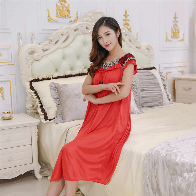 Summer dress ice silk sexy lingerie bow women nightgown fashion lace  pijamas mujer nightshirt plus size 0ea083104a92
