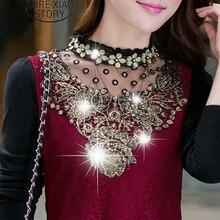 New 2017 Fashion Turtleneck Floral Cotton Long Sleeve Chiffon Shirt Lace Blouse Income Women's Blouses Plus Size Clothing 13B 20