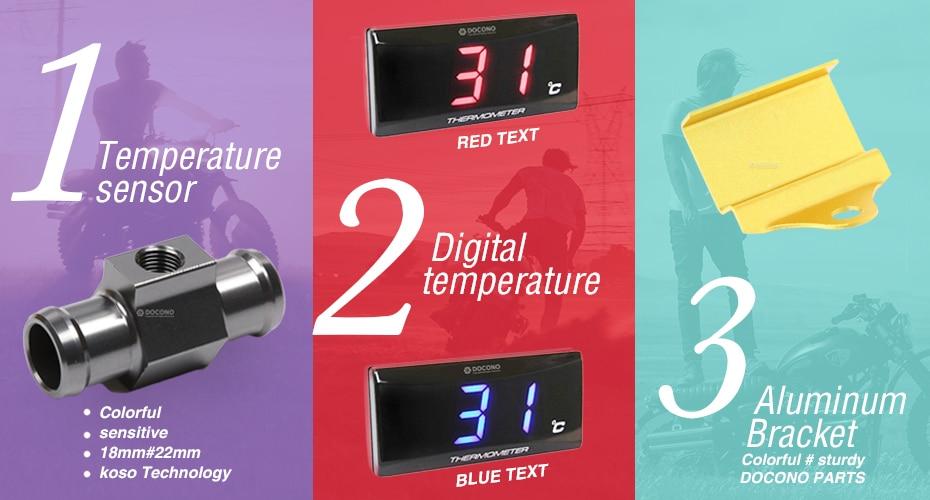 Universal Motorcycle Waterproof Digital Electronics Thermometer LED Engine Water Temperature Instrument Alarm Gauge Meter 0~120 Celsius for Honda Suzuki KTM Yamaha Kawasaki Harley Ducati