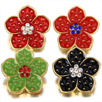 10pcs/lot New Gold Snap Jewelry Oil Driping Flower 18mm Snap Buttons for Women Fit Snap Bracelet Necklace Jewe;ry snap button jewelry