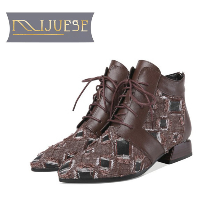 MLJUESE 2019 women ankle boots cow leather Denim lace up Geometric low heel boots winter short