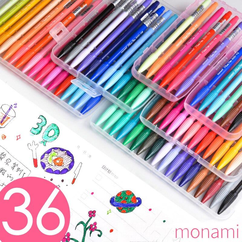 все цены на Monami Color Felt Tip Pen Set For Personal Organizer Sketch 0.5 mm Multi colour Liner Water-based Pigment Watercolor Art 3000