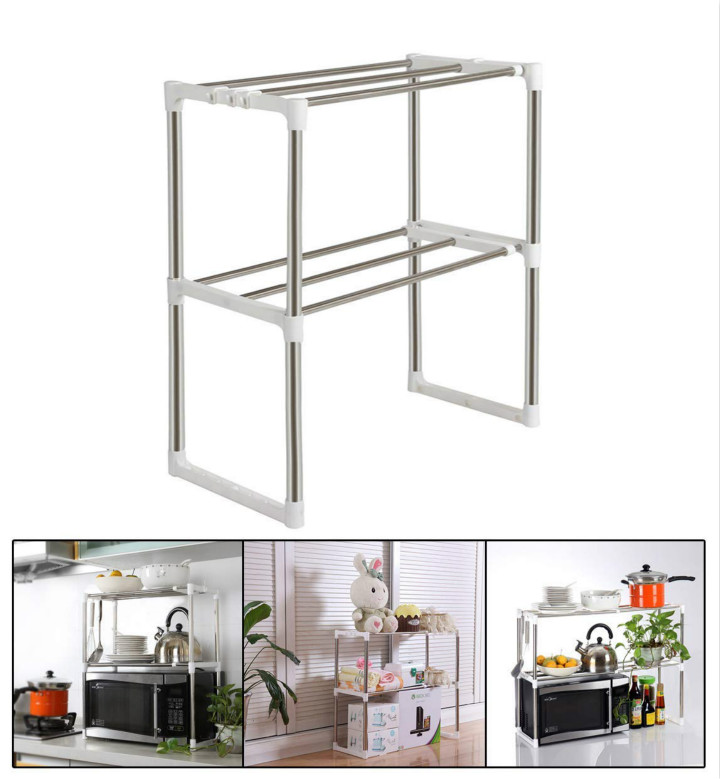 Stainless Steel Adjustable Multifunctional Microwave Oven Shelf Rack Standing Type Double Kitchen Storage Holders Rack in Racks Holders from Home Garden