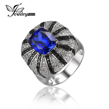 JewelryPalace Luxurious three.9ct Created Blue Sapphire Pure Black Spinel Cocktail Ring Stable 925 Silver Classic Jewellery New Vogue