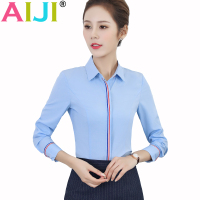 Spring Summer Women Elegant Office Business Work Style Blue White Blouse Turn Down Collar Long Sleeve