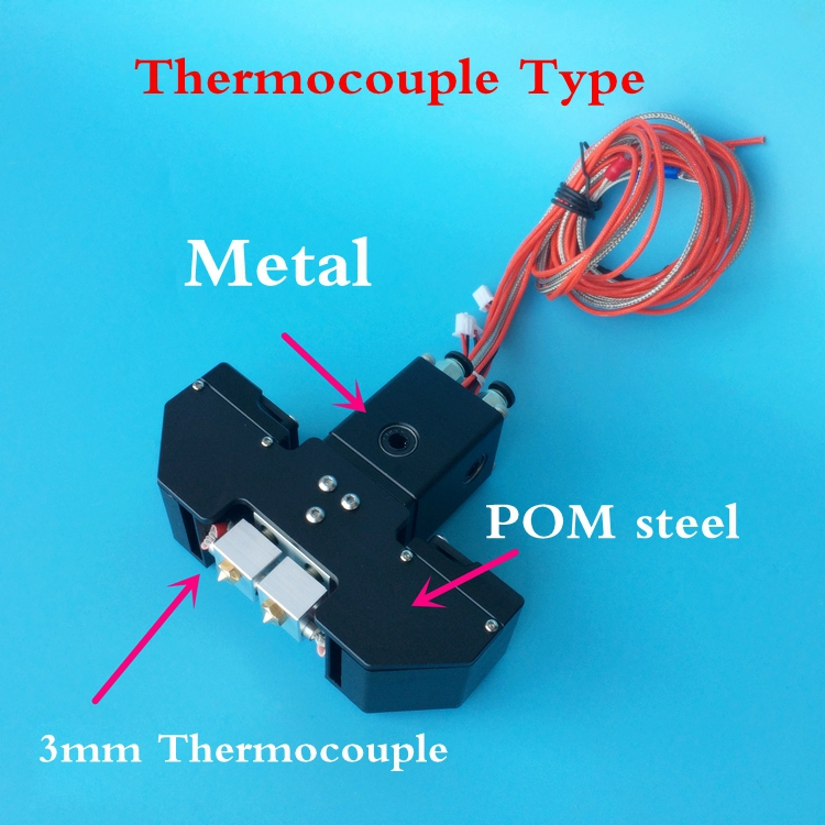 Black / Silver Aluminum Alloy Ultimaker 2+ Extended Ultimaker 3 3D printer Chimera Extruder Dual Extrusion W/ Thermocouple 1pcs 3d printer accessories ultimaker 2 extruder cooling heat sink aluminum seat block