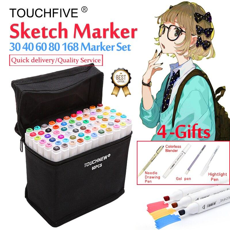 Touchfive Dropshipping. exclusivo. marcador/30/40/60/80/168 colores de doble cabeza dibujo marcadores cepillo pluma pincel de conjunto para dibujar Manga diseño arte suministros