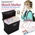 Touchfive Yağlı Alkol İşaretleyiciler 30/40/60/80/168 Renkler Set Çift Kafa Kroki işaretleyici kalem Için çizim Manga Animasyon Sanat Malzemeleri