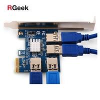 NEUE PCIe 1 bis 4 PCIe 16X Riser Card PCI-E 1X zu 4 USB 3.0 PCI-E Riser Adapter Port Multiplier Karte für BTC Bitcoin Bergbau Bergmann