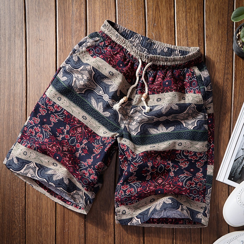 17 Colors / 2019 Summer New Boutique Cotton And Linen Men's Casual Beach Short Section Thin Mens Fashion Print Casual Short