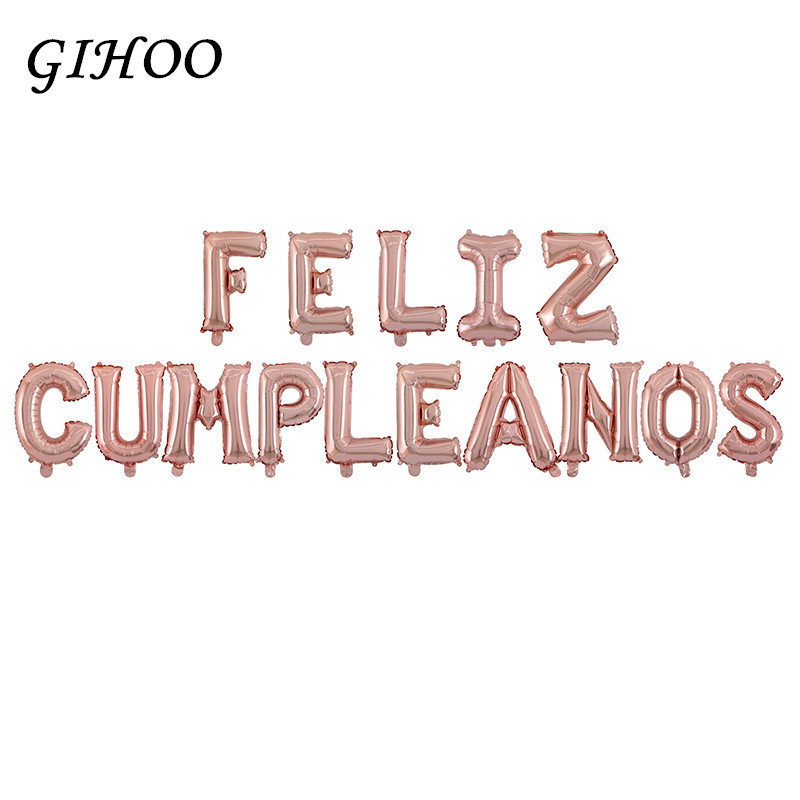 spanish letters happy birthday foil balloons silver birthday letter ballons party decoration supplies baby kids air balloons