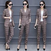 Spring and autumn new Korean fashion temperament Slim small suit plaid jacket women's nine pants suit