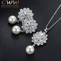 CWW Brand Trendy Women Pearl Jewelry High Quality Zirconia Crystal Ladies Dangling Pendant Necklace And Earring Set T280