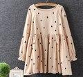 Pingos de chuva de impressão o pescoço longo manga boneca solto parte superior da camisa mori menina 2016 outono