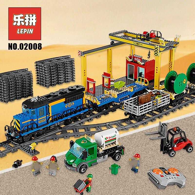 Lepin City 02008 02039 02009 the Cargo Train Set bloques de construcción 60052 RC Train 60098 niños juguete educativo ciudad Lepin