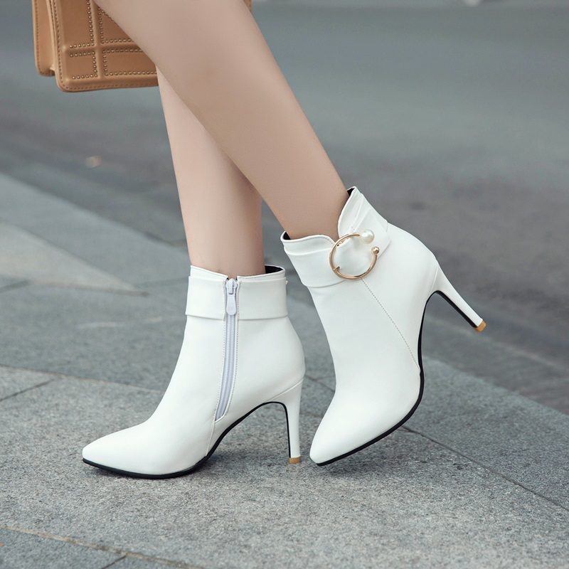 Moda yellow Egonery white Zapatos Punta Super Caliente La Envío 2018 De Colores Cuatro Alta pink Nueva Gratis Black Hebilla Botas Mujeres Delgados Venta Tacones W1nrYqw1S