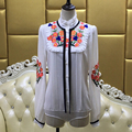 Специальные Красивые Блузки 2017 Весна Горячие Продажа Новая Мода Фонарь Рукав Элегантный Emboridery Белый Шелковая Блузка