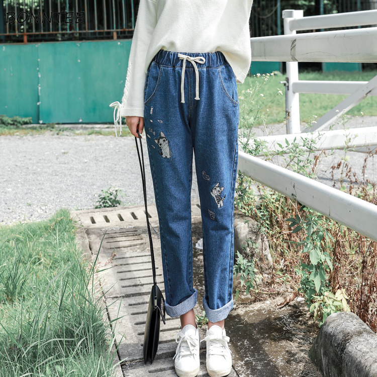 Jeans Women Lace Up Cat Printed Harajuku High Elastic Waist Straight Womens Pockets Chic Korean Style Student Girl Trousers Soft