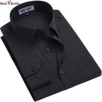 White Black Men Dress Shirt Formal Fashion Long Sleeve Brand Business Men Casual Shirt Regular Fit