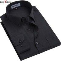 Wit/zwarte Mannen Jurk Shirt Formele Mode Lange Mouw Merk Business Mannen Casual Shirt Regular Fit Plus Size 5XL 6XL BIANYILONG