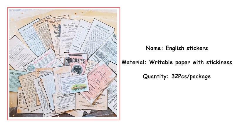 32x Old Newspaper English Background Sticker Junk Journal Planner Scrapbooking