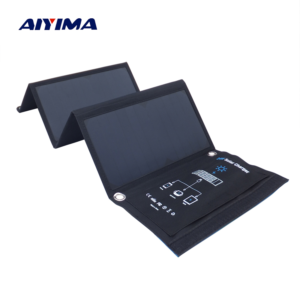 цена на AIYIMA 24W Folding Solar Panel Charger Portable with Fast Charge 3 USB Port High Efficiency Sunpower Solar Panel for Cellphone