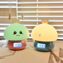 3 in 1 Rabbit LED Night Light Alarm Clock Recorder Remote Control Touch Sensor Colorful USB Charging Silicone Bunny Bedside Lamp