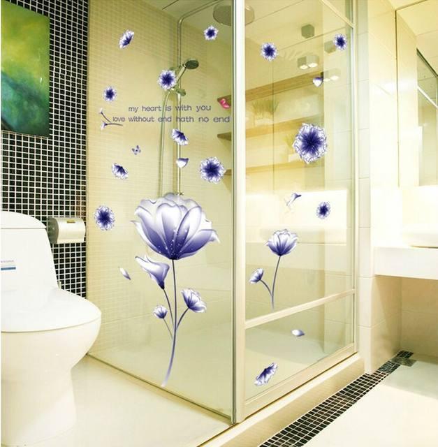 Online Shop Romantic Purple Flowers Hibiscus Mutabilis DIY PVC Wall ...