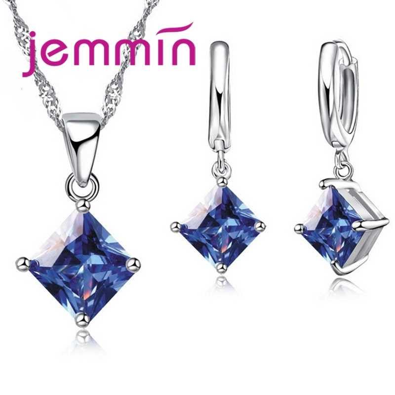 Hohe Qualität CZ Geometrische 3D Platz Erklärung Halskette Kragen 925 Sterling Silber Tropfen Ohrringe für Frauen Brincos