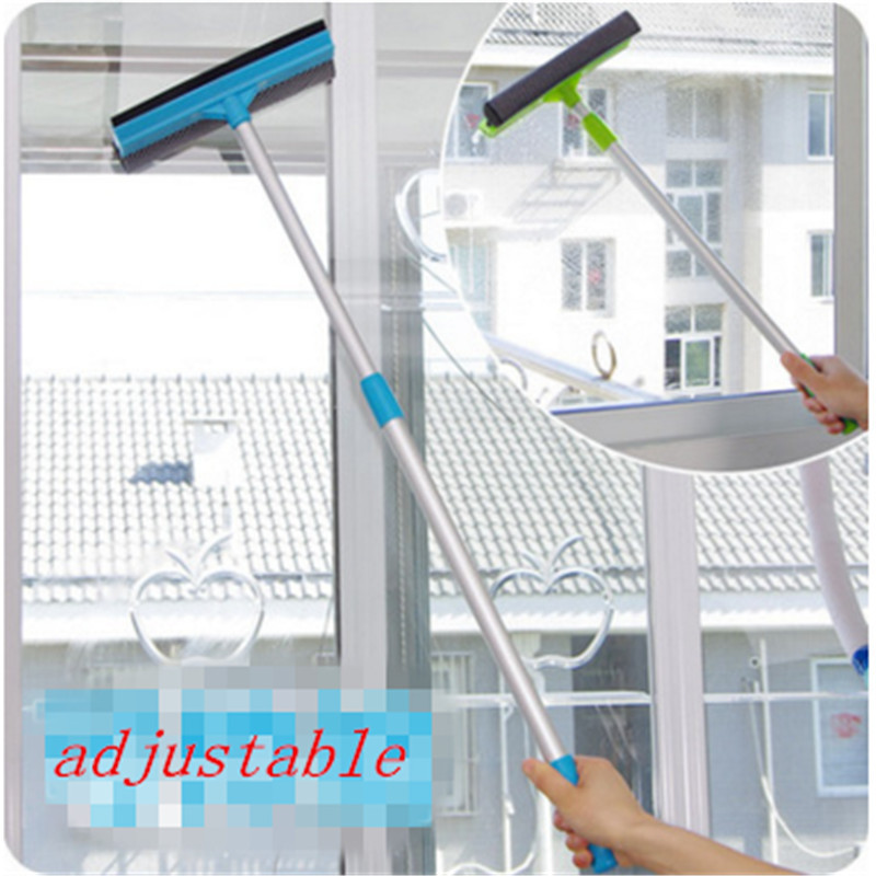 1pc Glass Window Cleaner 2-in-1 Cleanning Brush Wiper Adjustable Long Handle Bathroom Wall Cleaner Brush Dropshipping