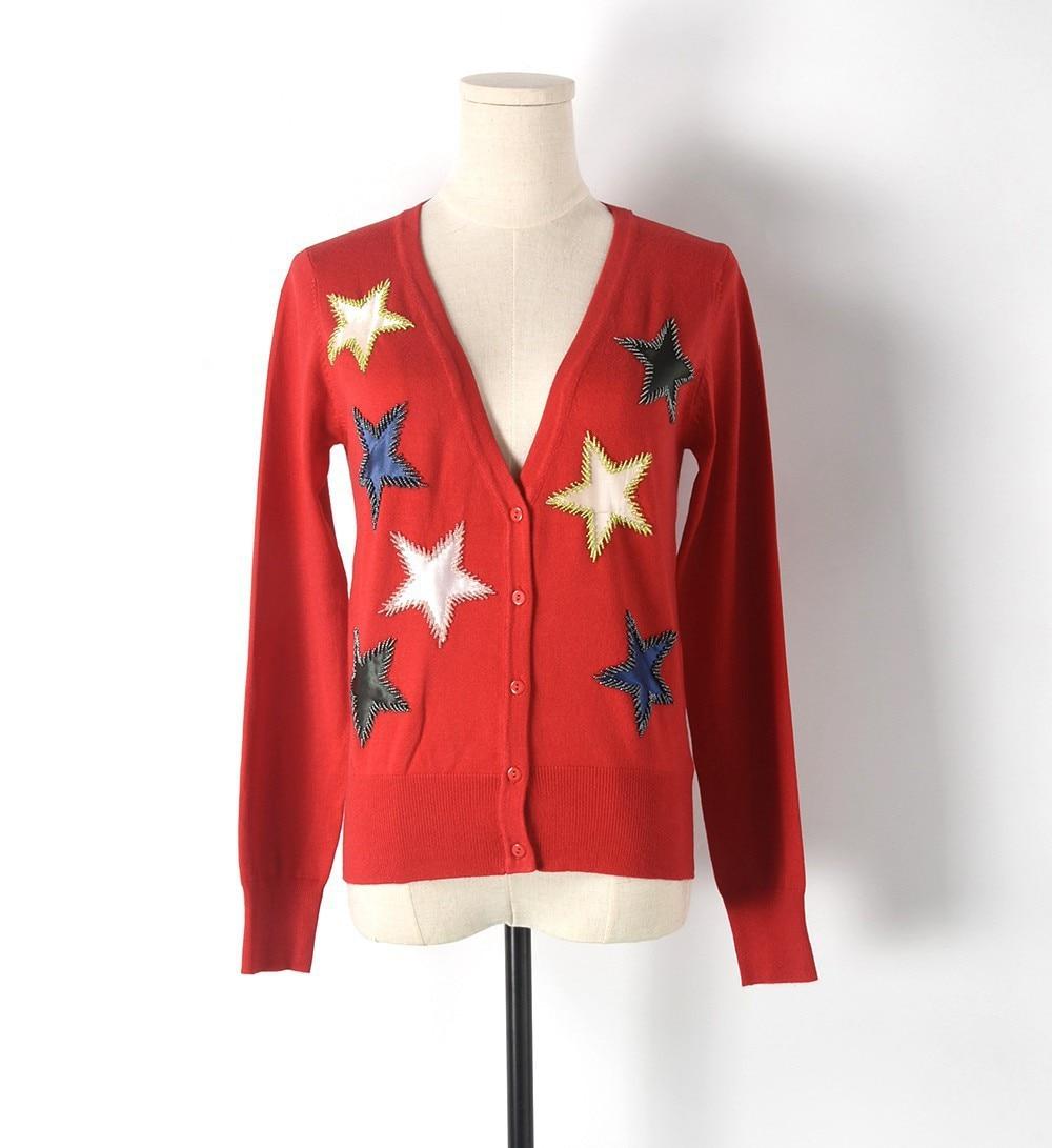 New 2017 autumn knit cardigan women heavy beaded pentagram stars v ...