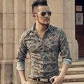 2016 Nova Moda Casual Homens Camisa de Manga Longa Estilo Europa Camisas Dos Homens Slim Fit Camisa Dos Homens De Alta Qualidade de Algodão Floral roupas