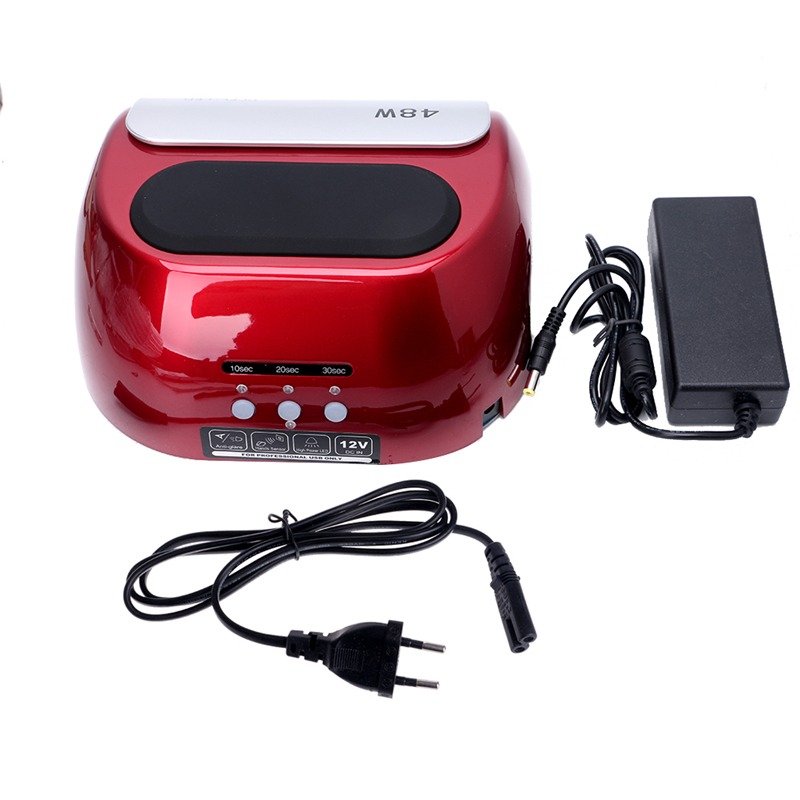 Electric CCFL LED Lamp Nail Dryers For Nail Gel Polish Curing EU Plug Red Nail Tools 12V 48W Plastic+Metal Fashion Professional professional 48w led uv lamp for curing nail gel polish nail lamp for nail art tools with eu au us uk plug