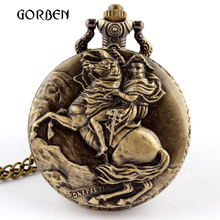 Антикварный император Наполеон карманные часы Ride Horse бронзовые кварцевые карманные часы Fob ожерелье кулон для мужчин подарок Relogio De Bolso Новинка