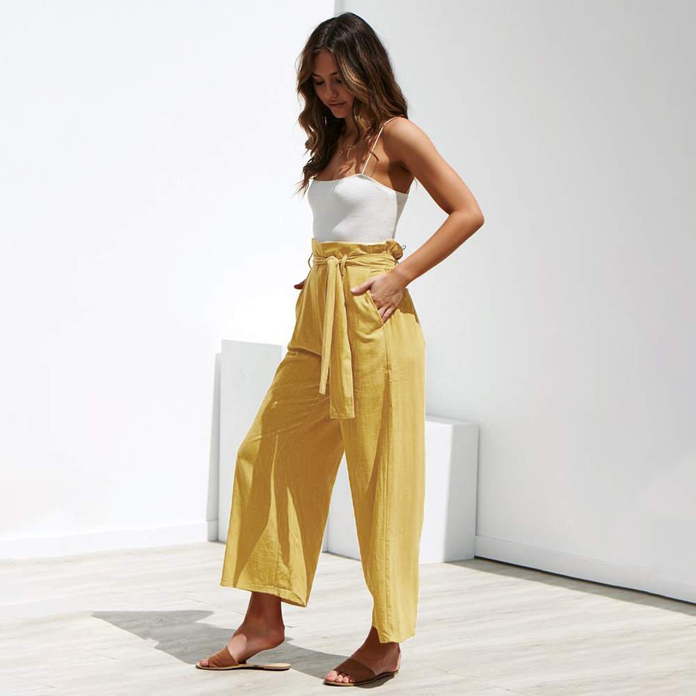 Women pants Casual Loose High waist pants 2019 spring and summer leisure trousers Sweatpants women Cotton amp Linen Wide leg pants in Pants amp Capris from Women 39 s Clothing