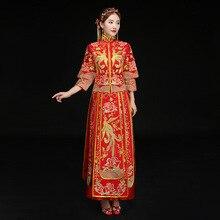 Luxury Chinese Traditional Wedding Dress Bride dress Embroidery Phoenix Cheongsam Women qipao Long Evening Dress Retro Dress