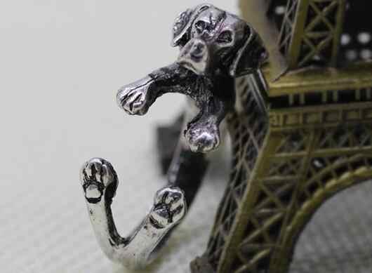 Regulowana biżuteria na palce pierścień zwierząt pies Pet golden retriever Trendy Style metale ciężkie Punk Rock Rings słodkie zwierzątko dla mężczyzny kobiety