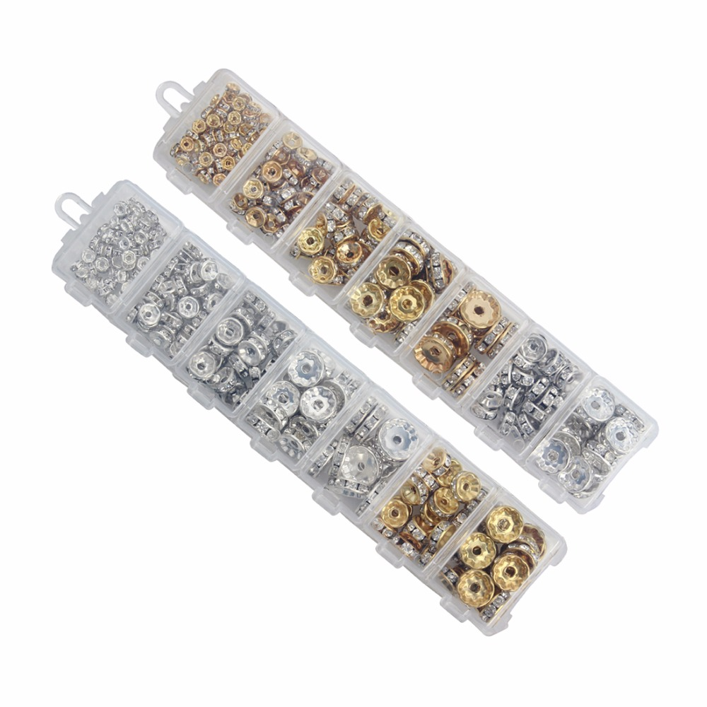LOULEUR 1Box/lot Mixed 6 8 10 12 mm Gold/Silver Color Metal Rondelle Spacer Beads Rhinestone Loose Crystal Jewelry Making