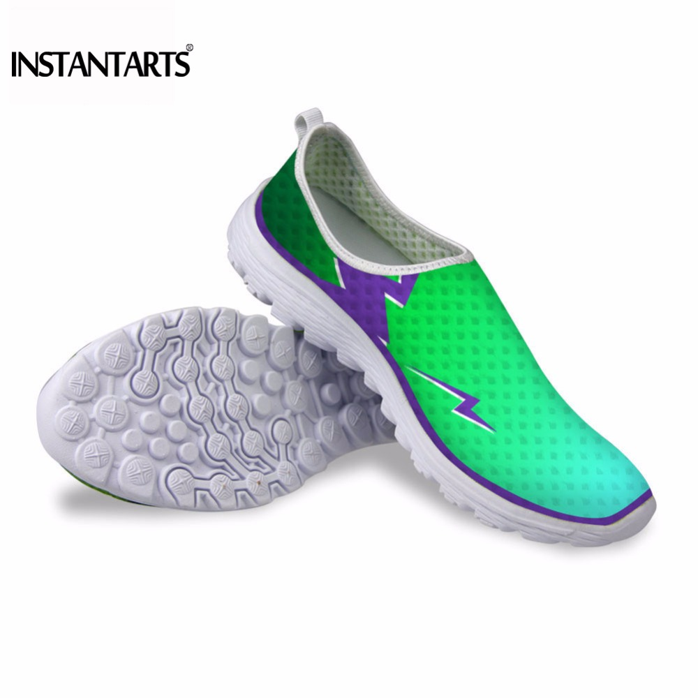 INSTANTARTS 2018 Summer Men Casual Shoes Fashion Men Mesh Slip on Sneaker Shoes Super-light Breathable Flats Beach Shoes Male