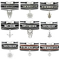 (10 PCS/Lot) Infinity Love Supernatural Castiel Sam Dean Charms Bracelets For Women Men Jewelry Gifts Black Leather Bracelets