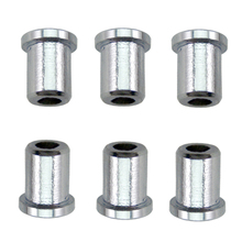 6 pieces Guitar String Mounting Ferrules Through Body Bushing for Electric Replacement Part Silver