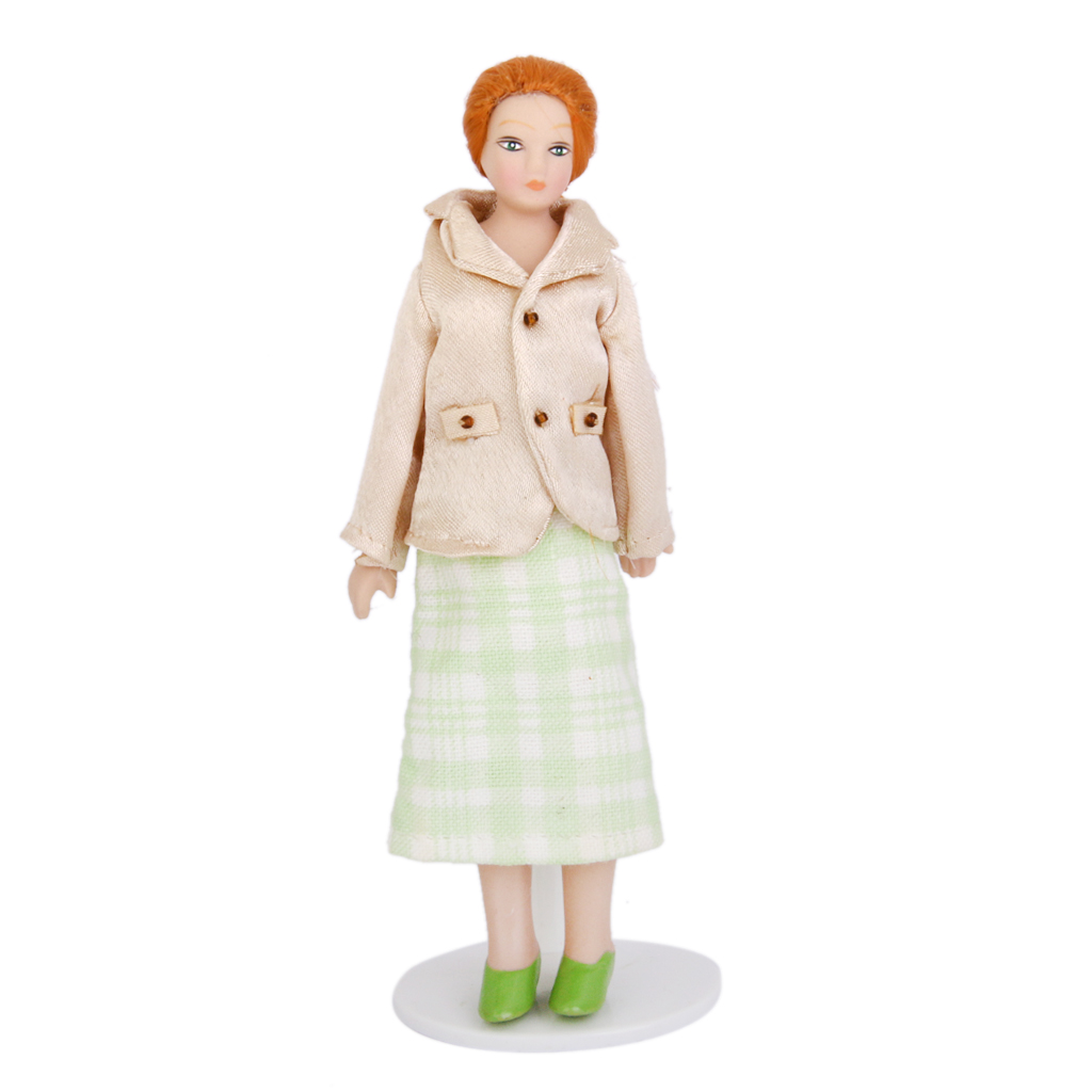 Fashional Dollhouse Miniature Porcelain Dolls Women with White Stand Doll Lover Collcection Doll Accessory Coat and Green Skirt