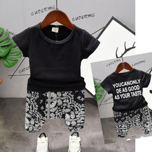 2019 New Summer Toddler Boys Clothing Tracksuit Outfit Black Letter Printing T-Shirt+ Hip Pants 2pcs Set Kid Baby Clothes