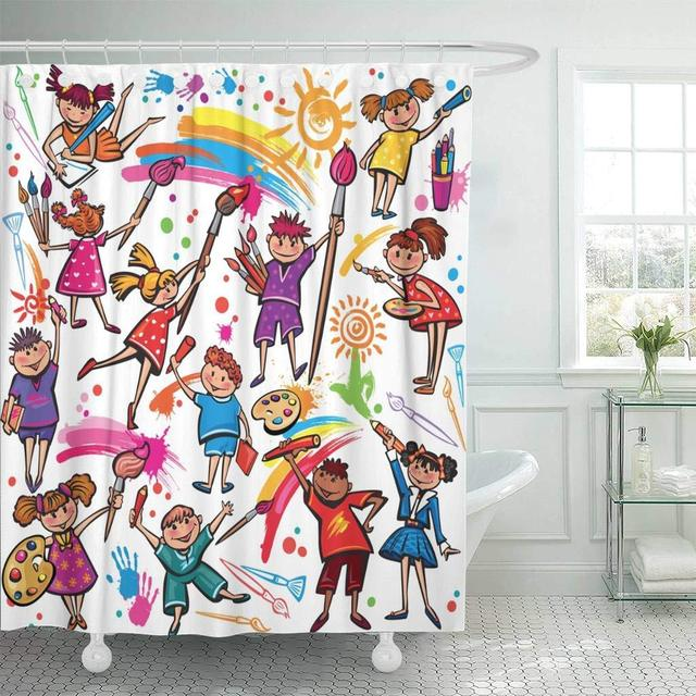 Fabric Shower Curtain With Hooks School Happy Children Drawing Brush And Colorful Crayons Kindergarten Splash Paint