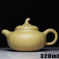 Teapot Yixing Kettle Ceramic Chinese Handmade Kung Fu Set Zisha Porcelain Teapots Sets Pumpkin [Bouns 3 Cups] Purple Clay Pot