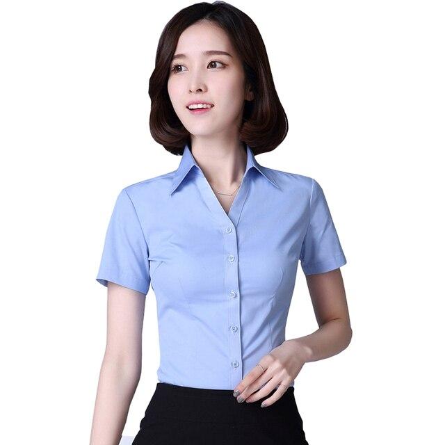 09b52b2f6b Mulheres Camisas de Algodão de Manga Curta Senhora Do Escritório  Ocupacional Camisa Turn-down Collar