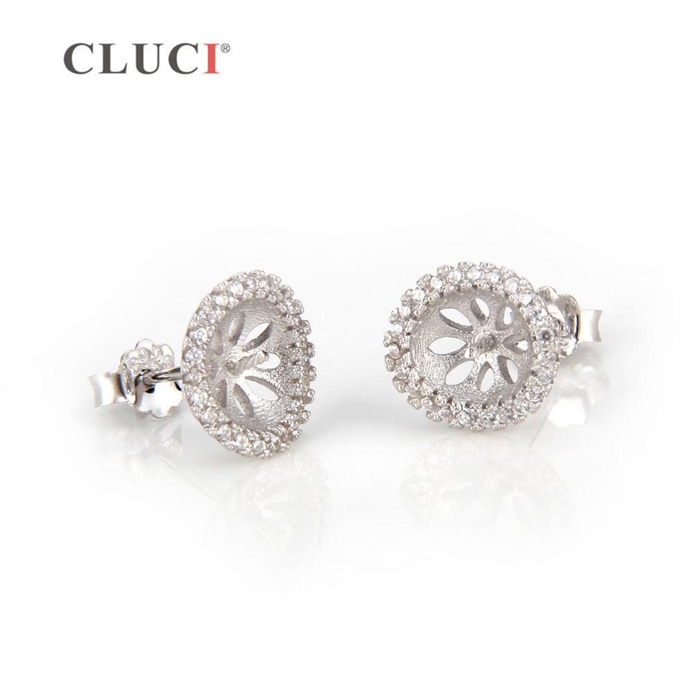 CLUCI 925 sterling silver glittering Round earrings fitting Stud Earrings with 46 zircons For Women Jewelry making DIY